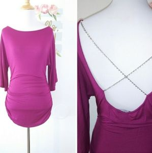 BEVE faux crystal open back dress. Size XS